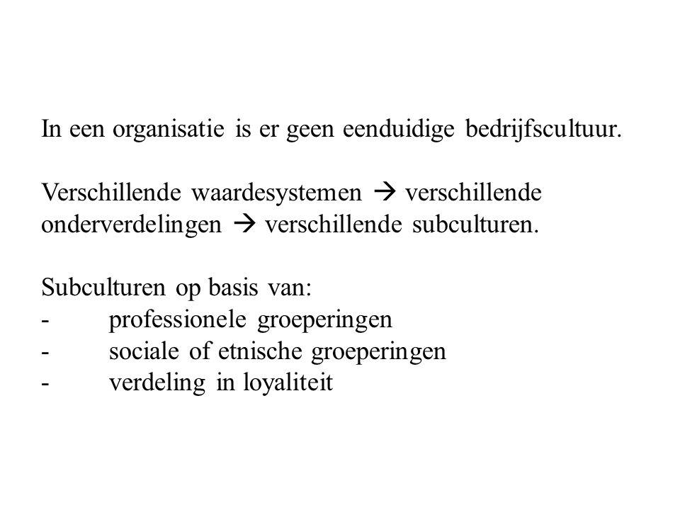 In een organisatie is er geen eenduidige bedrijfscultuur.