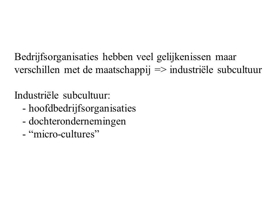 Bedrijfsorganisaties hebben veel gelijkenissen maar verschillen met de maatschappij => industriële subcultuur