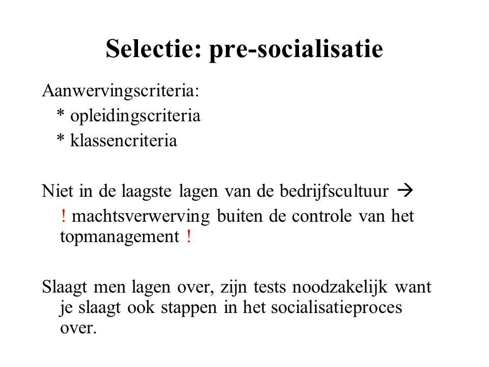 Selectie: pre-socialisatie
