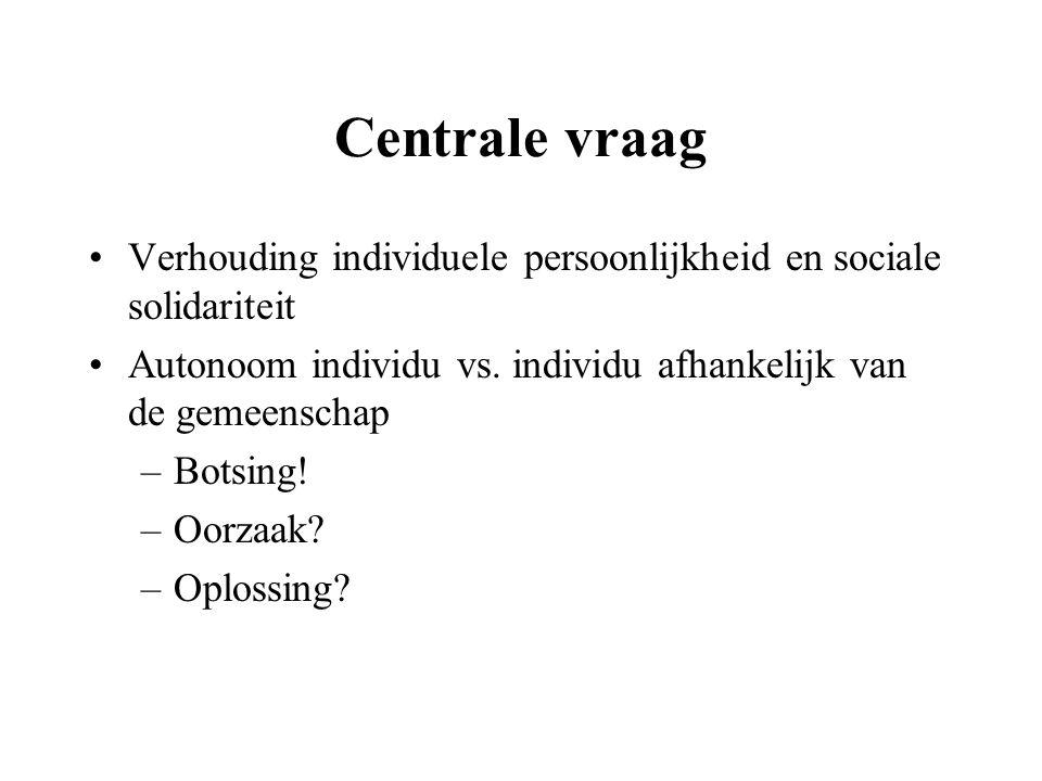 Centrale vraag Verhouding individuele persoonlijkheid en sociale solidariteit. Autonoom individu vs. individu afhankelijk van de gemeenschap.