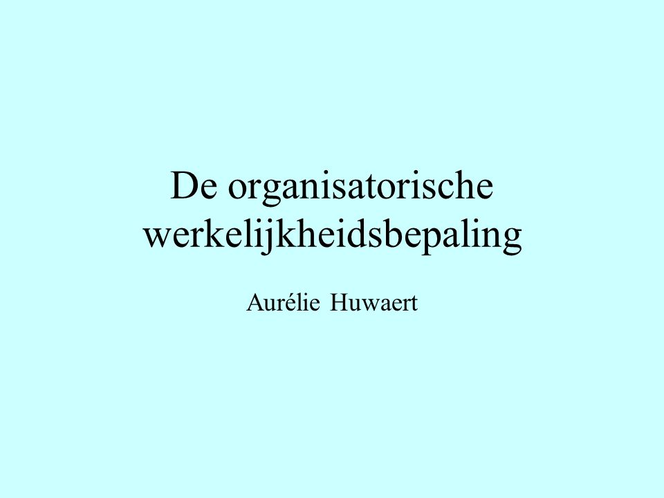 De organisatorische werkelijkheidsbepaling