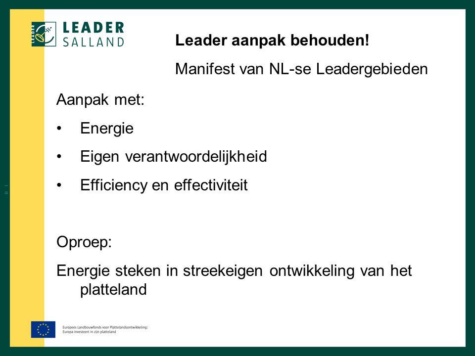 Leader aanpak behouden! Manifest van NL-se Leadergebieden