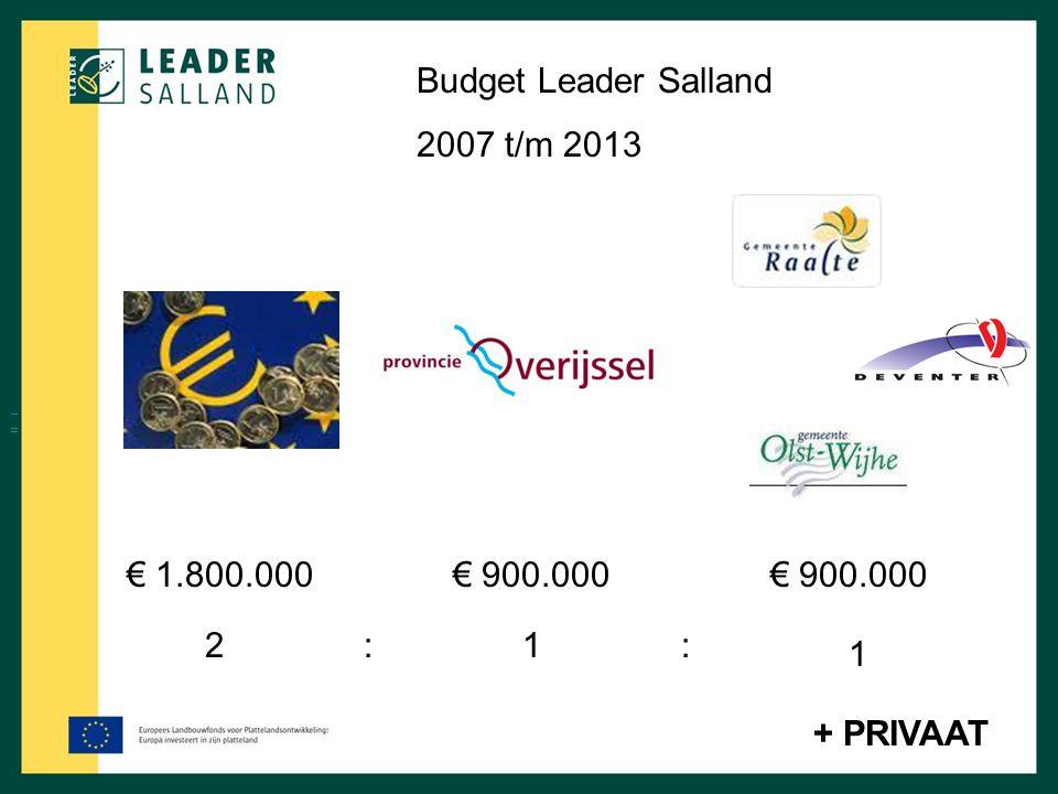 Budget Leader Salland 2007 t/m 2013 € 1.800.000 € 900.000 € 900.000 2