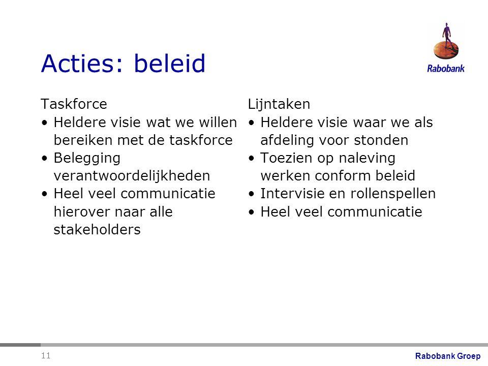 Acties: beleid Taskforce