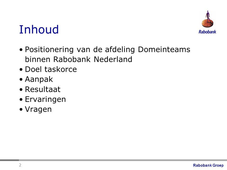 Inhoud Positionering van de afdeling Domeinteams binnen Rabobank Nederland. Doel taskorce. Aanpak.