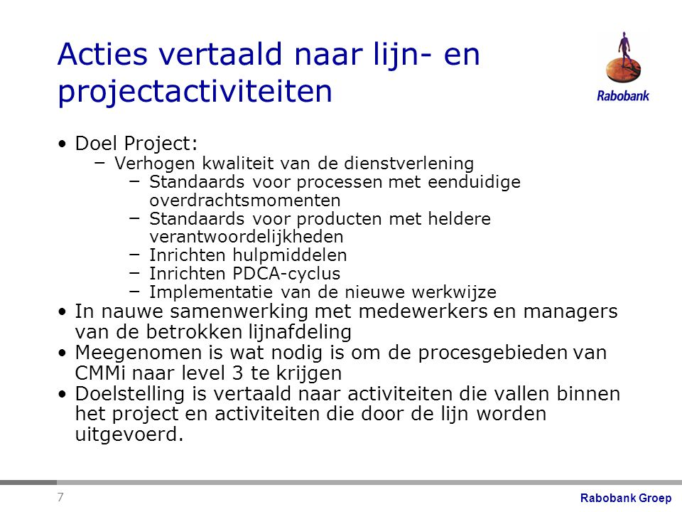 Acties vertaald naar lijn- en projectactiviteiten