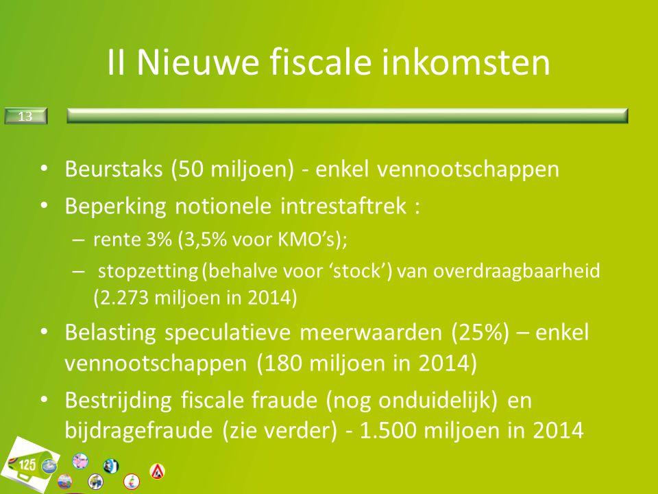 II Nieuwe fiscale inkomsten