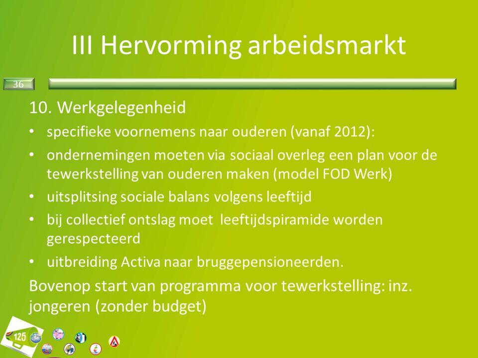 III Hervorming arbeidsmarkt