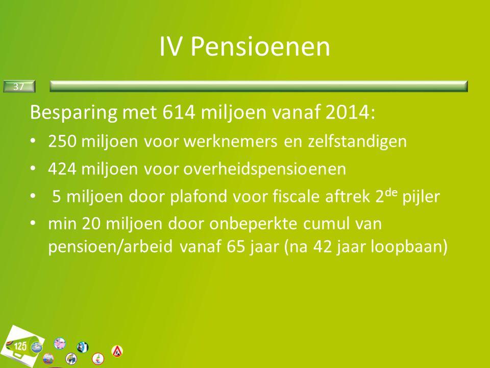 IV Pensioenen Besparing met 614 miljoen vanaf 2014: