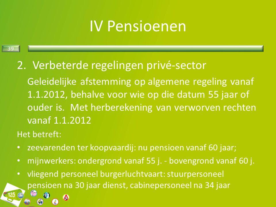 IV Pensioenen Verbeterde regelingen privé-sector