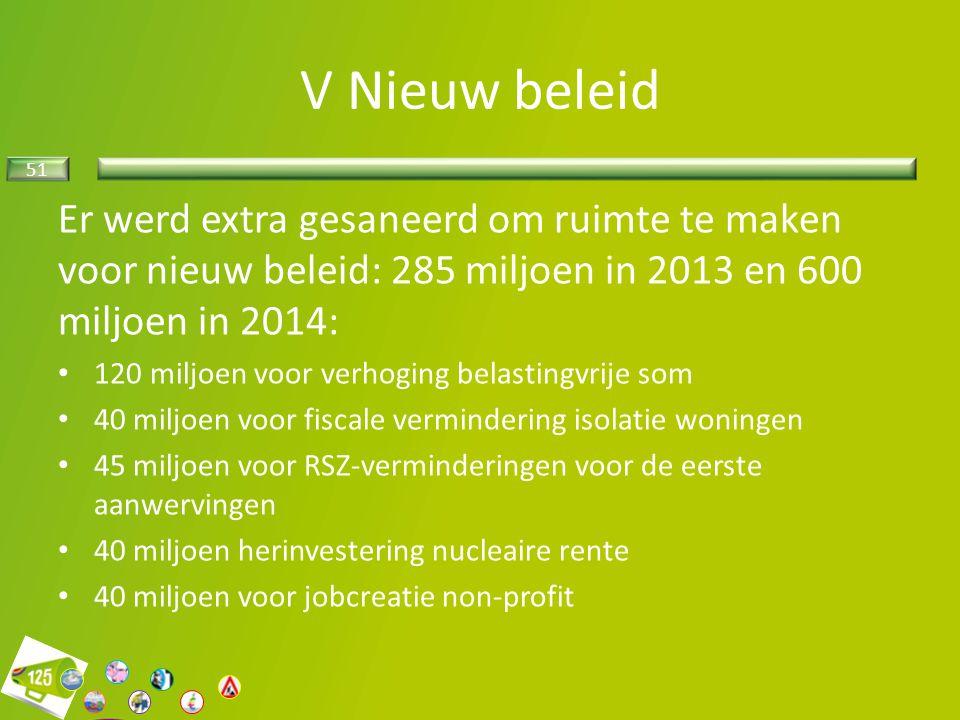 V Nieuw beleid Er werd extra gesaneerd om ruimte te maken voor nieuw beleid: 285 miljoen in 2013 en 600 miljoen in 2014: