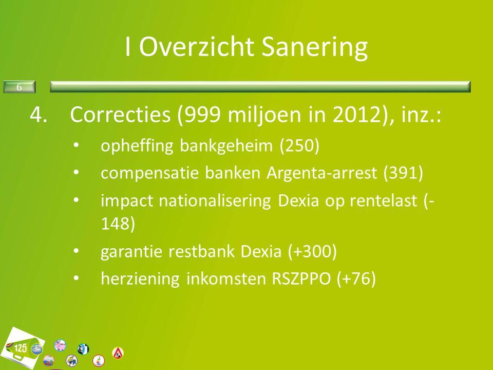 I Overzicht Sanering Correcties (999 miljoen in 2012), inz.: