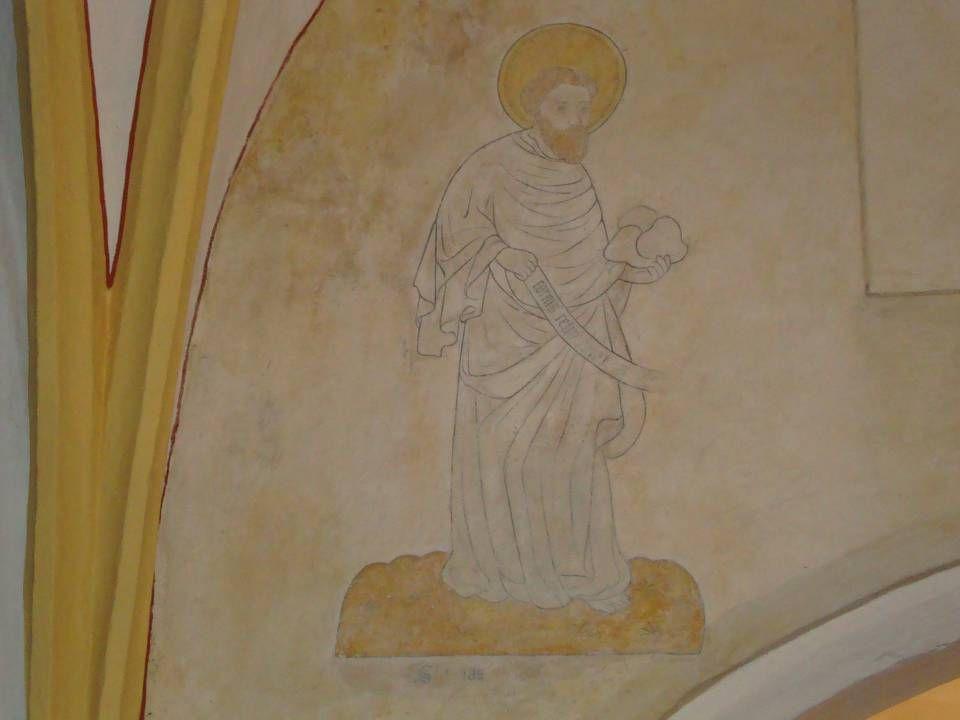 Elia met drie broden in de hand. Elias is de latijnse naam van Elia