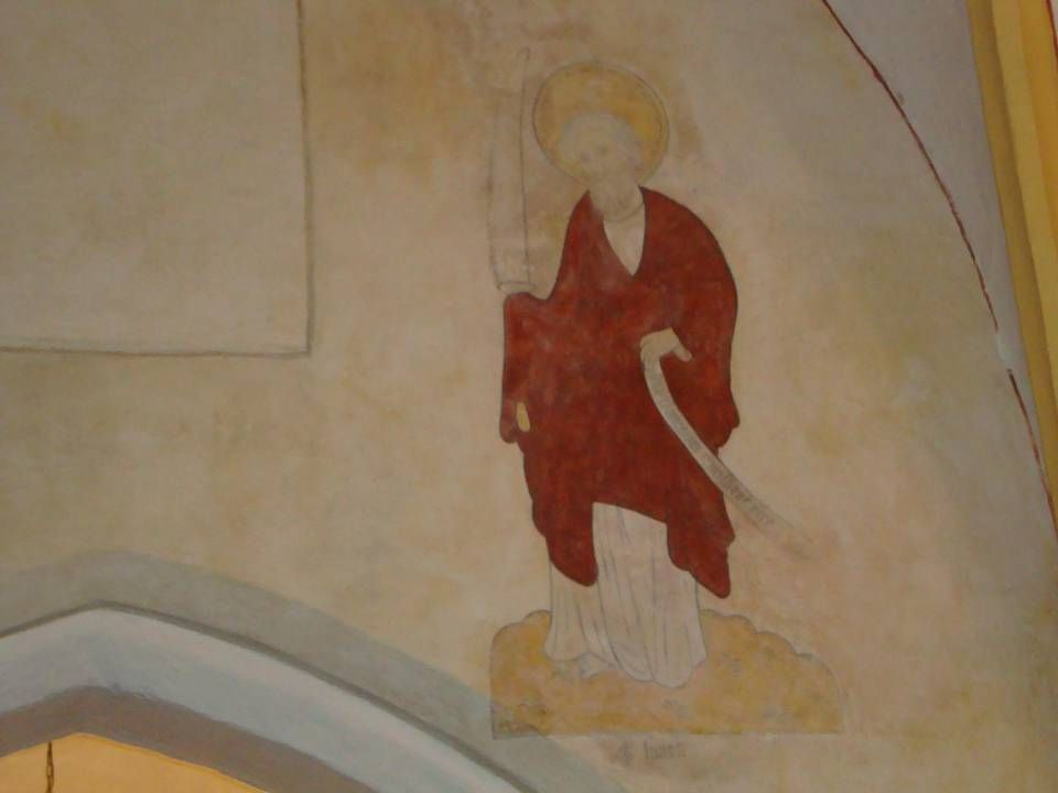 Simon (de Zeloot) herkenbaar aan de zaag, verwijzend naar zijn marteldood.