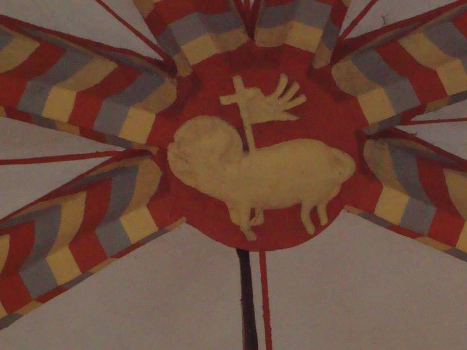 Lam Gods met aureool, kruis en overwinningsvaan, symbool van Jezus