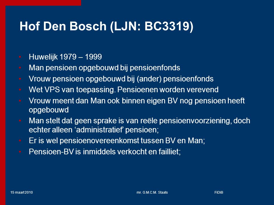 Hof Den Bosch (LJN: BC3319) Huwelijk 1979 – 1999
