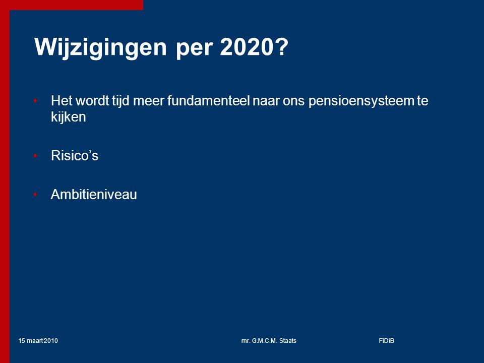 Wijzigingen per 2020 Het wordt tijd meer fundamenteel naar ons pensioensysteem te kijken. Risico's.