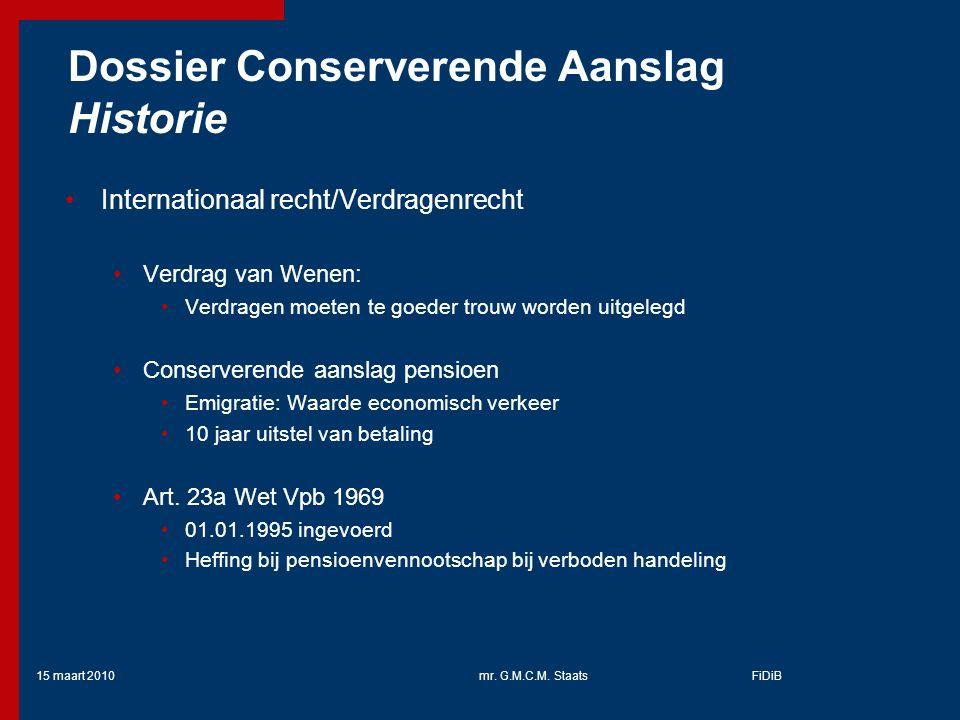 Dossier Conserverende Aanslag Historie