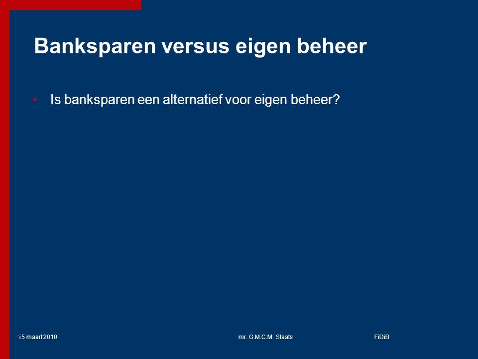 Banksparen versus eigen beheer