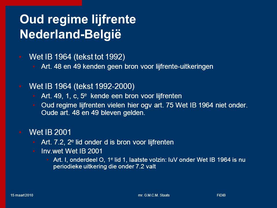 Oud regime lijfrente Nederland-België