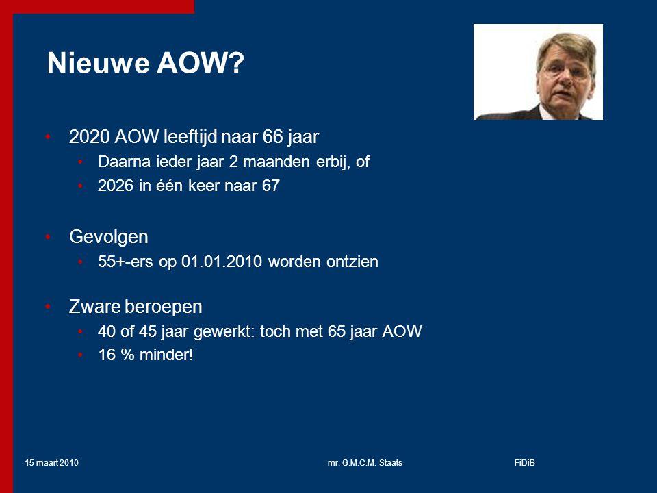 Nieuwe AOW 2020 AOW leeftijd naar 66 jaar Gevolgen Zware beroepen
