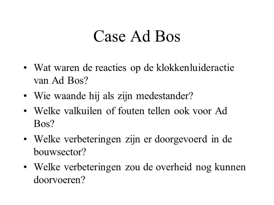 Case Ad Bos Wat waren de reacties op de klokkenluideractie van Ad Bos