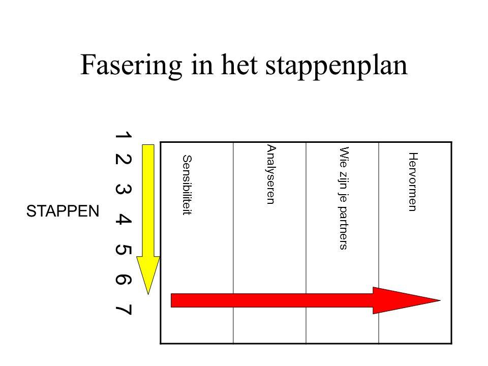 Fasering in het stappenplan