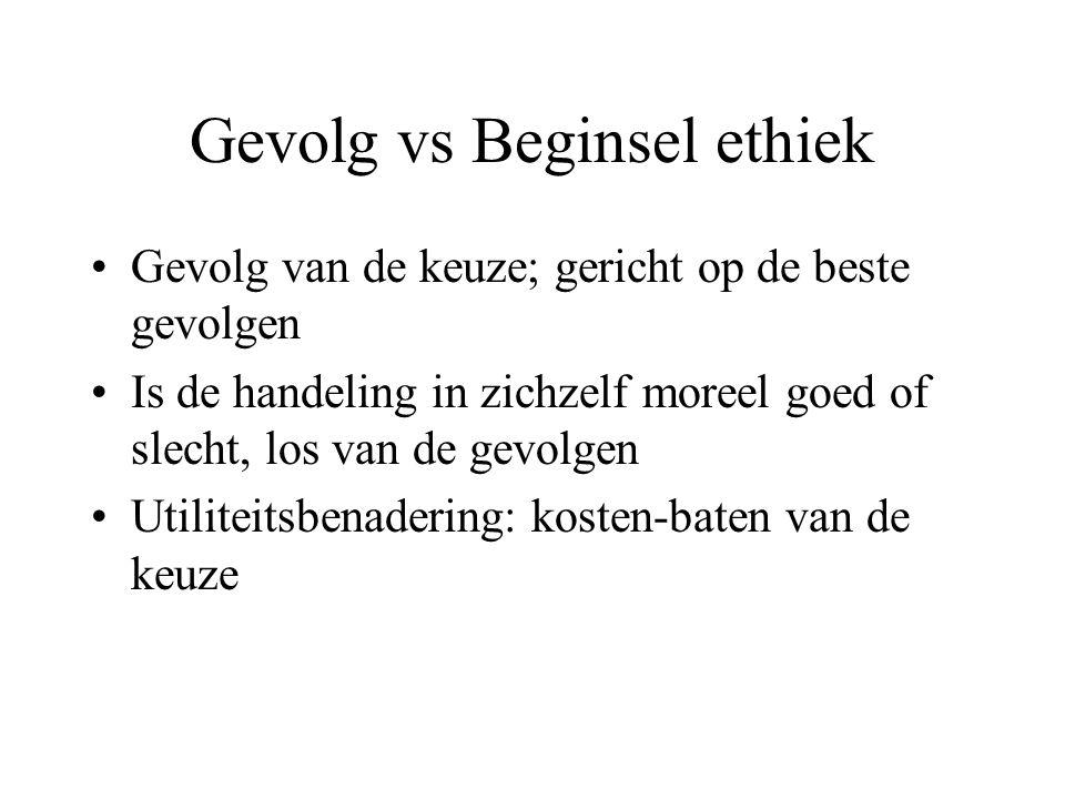 Gevolg vs Beginsel ethiek