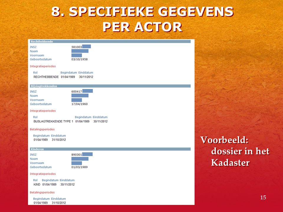 8. SPECIFIEKE GEGEVENS PER ACTOR