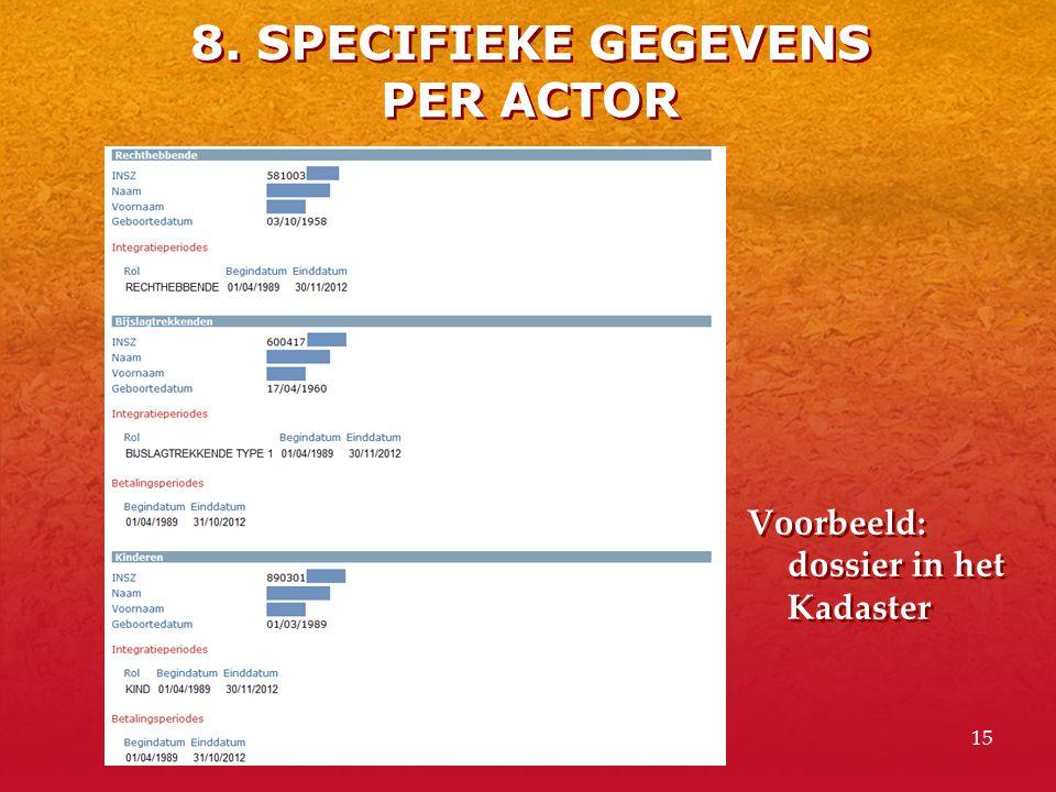 8. SPECIFIEKE GEGEVENS PER ACTOR