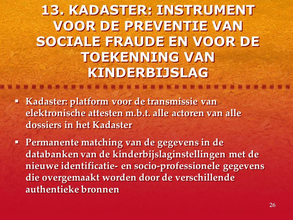 13. KADASTER: INSTRUMENT VOOR DE PREVENTIE VAN SOCIALE FRAUDE EN VOOR DE TOEKENNING VAN KINDERBIJSLAG