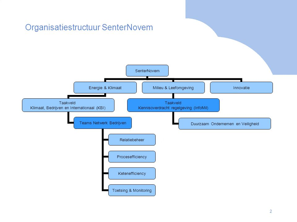 Organisatiestructuur SenterNovem