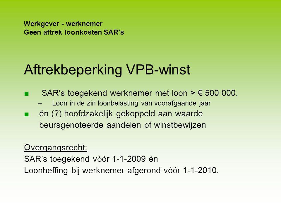 Werkgever - werknemer Geen aftrek loonkosten SAR's
