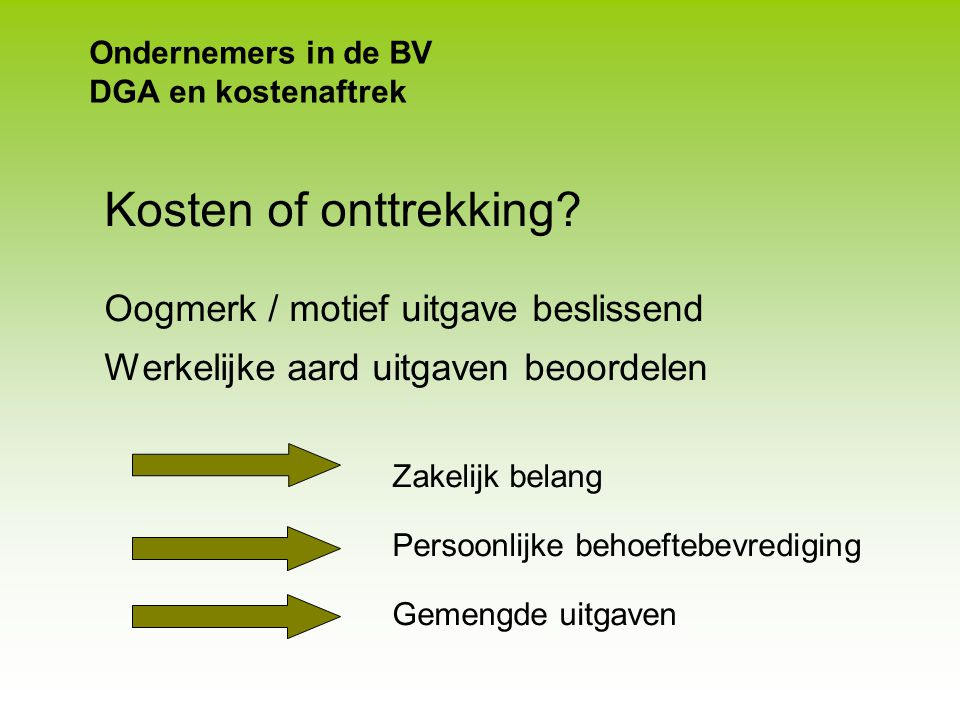 Ondernemers in de BV DGA en kostenaftrek