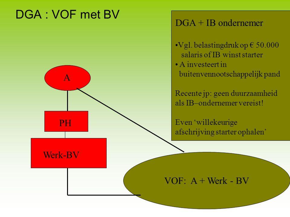 DGA : VOF met BV DGA + IB ondernemer A PH Werk-BV VOF: A + Werk - BV