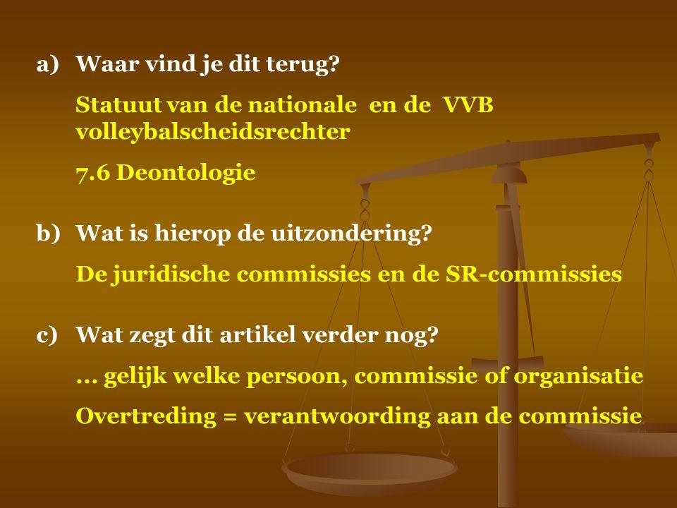 Waar vind je dit terug Statuut van de nationale en de VVB volleybalscheidsrechter. 7.6 Deontologie.