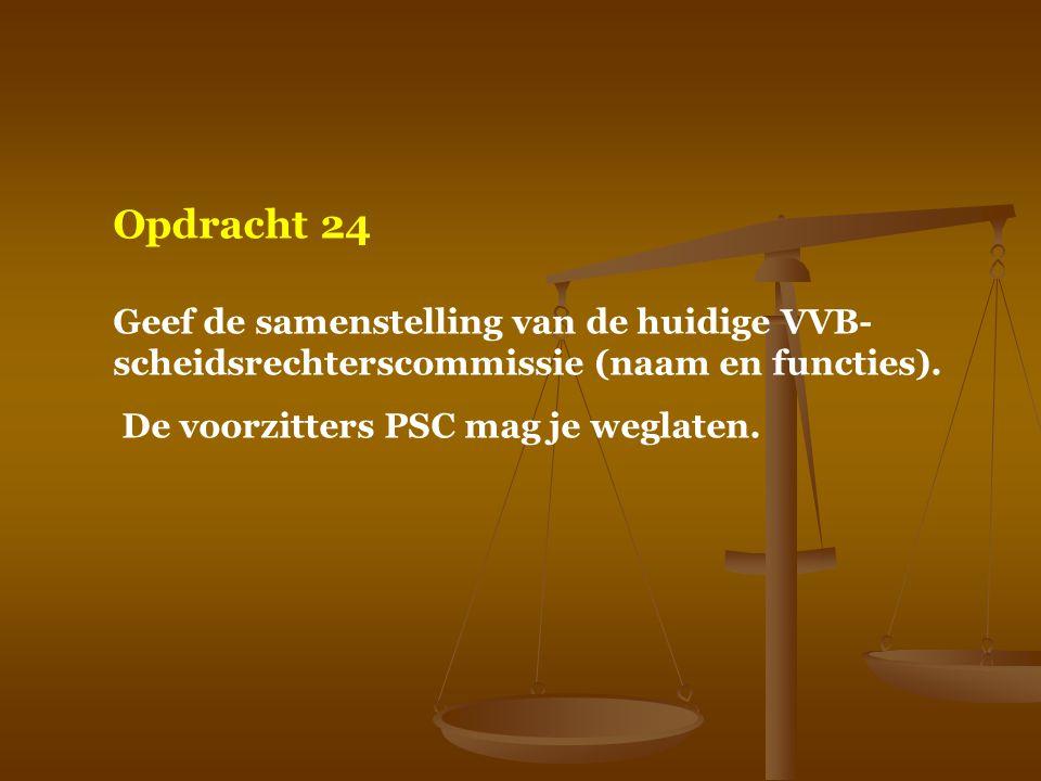 Opdracht 24 Geef de samenstelling van de huidige VVB-scheidsrechterscommissie (naam en functies).