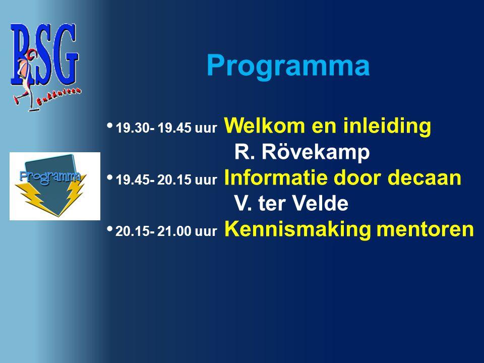 Programma 19.30- 19.45 uur Welkom en inleiding R. Rövekamp