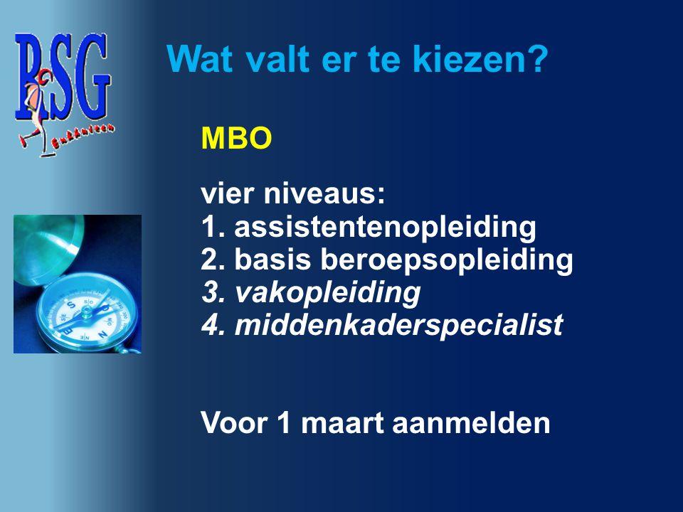 Wat valt er te kiezen mbo vier niveaus: 1. assistentenopleiding