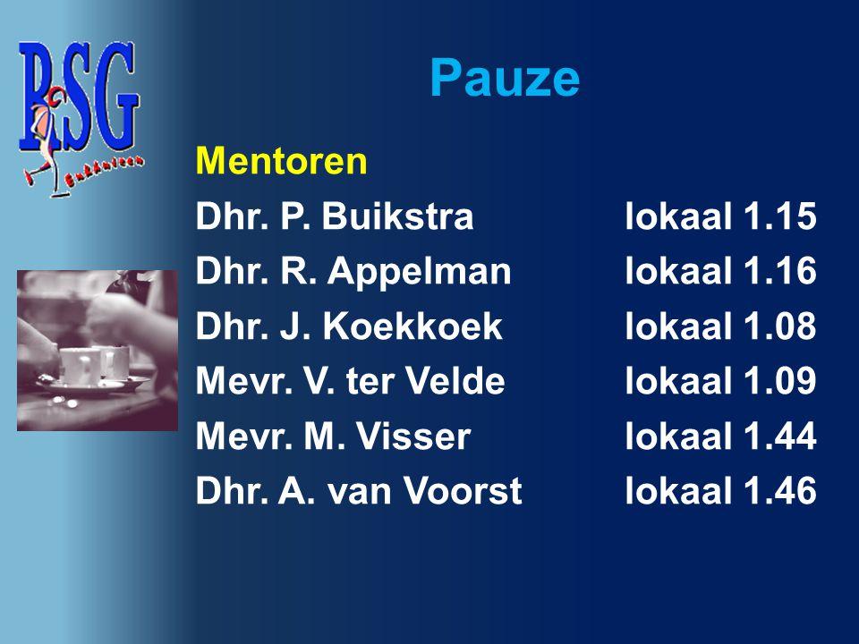 Pauze Mentoren Dhr. P. Buikstra lokaal 1.15