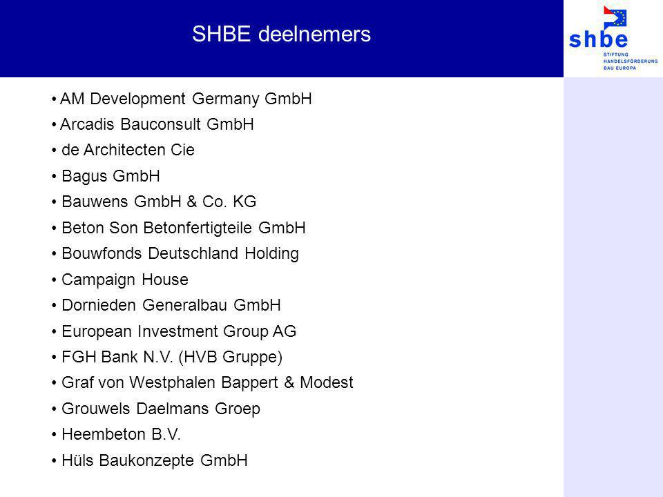 SHBE deelnemers AM Development Germany GmbH Arcadis Bauconsult GmbH