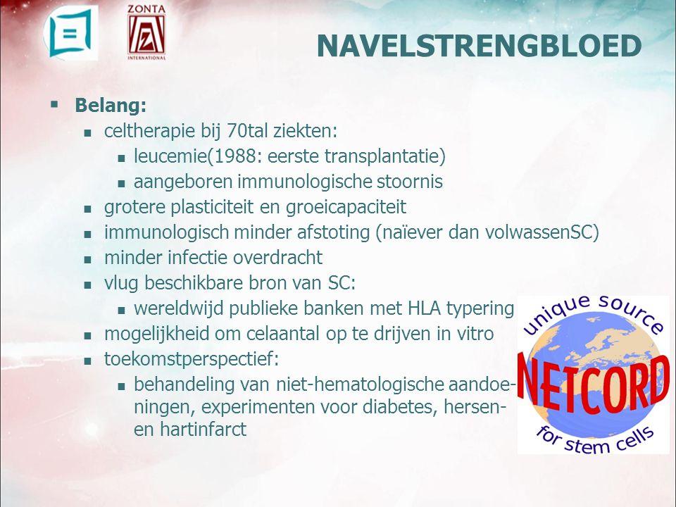 NAVELSTRENGBLOED Belang: celtherapie bij 70tal ziekten: