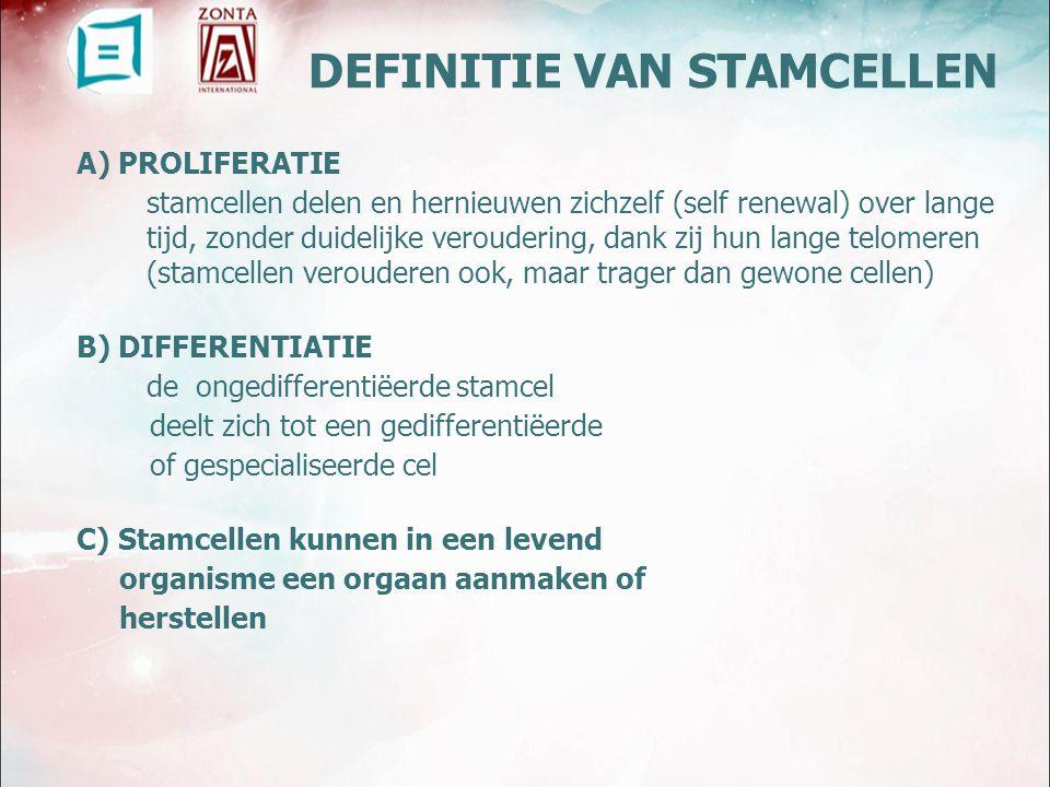 DEFINITIE VAN STAMCELLEN