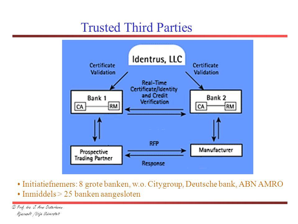 Trusted Third Parties © Prof. drs. J. Arno Oosterhaven. Rijnconsult /Vrije Universiteit.