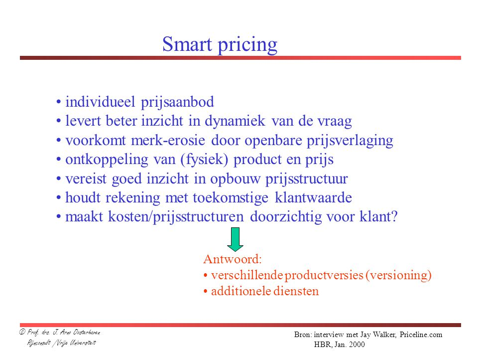 Smart pricing individueel prijsaanbod