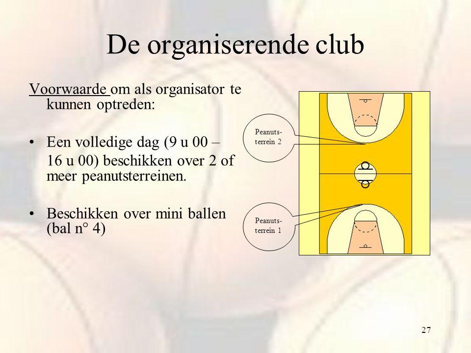 De organiserende club Voorwaarde om als organisator te kunnen optreden: Een volledige dag (9 u 00 –
