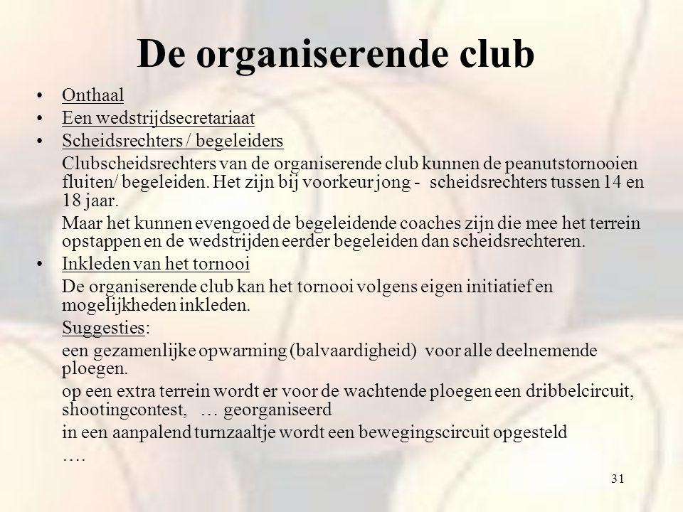 De organiserende club Onthaal Een wedstrijdsecretariaat