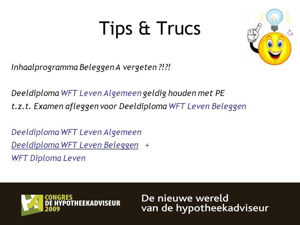 Tips & Trucs Inhaalprogramma Beleggen A vergeten ! !