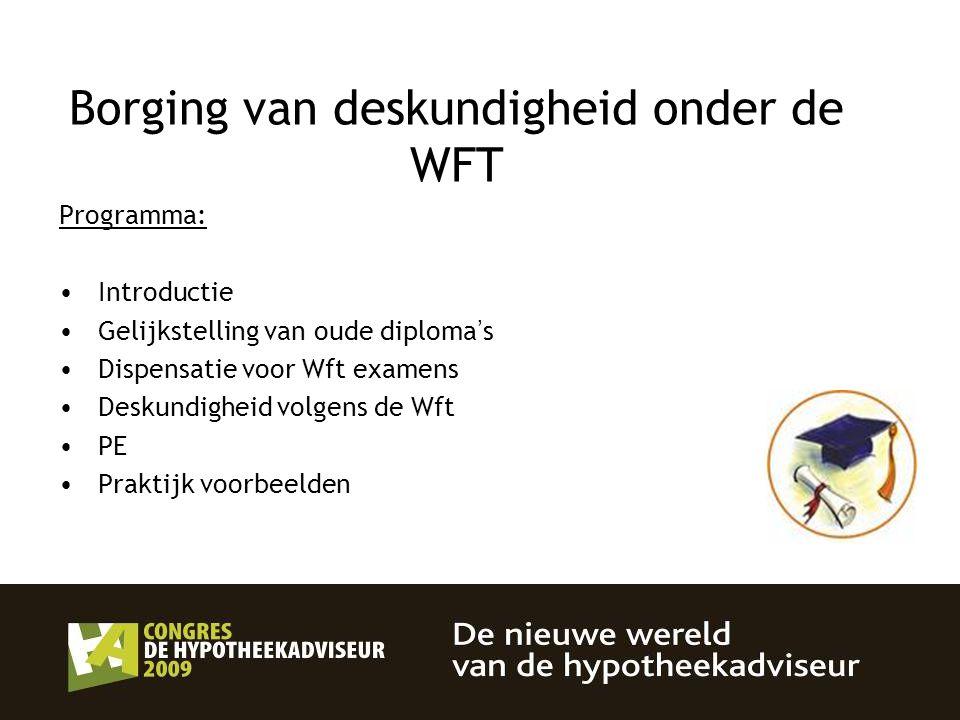 Borging van deskundigheid onder de WFT