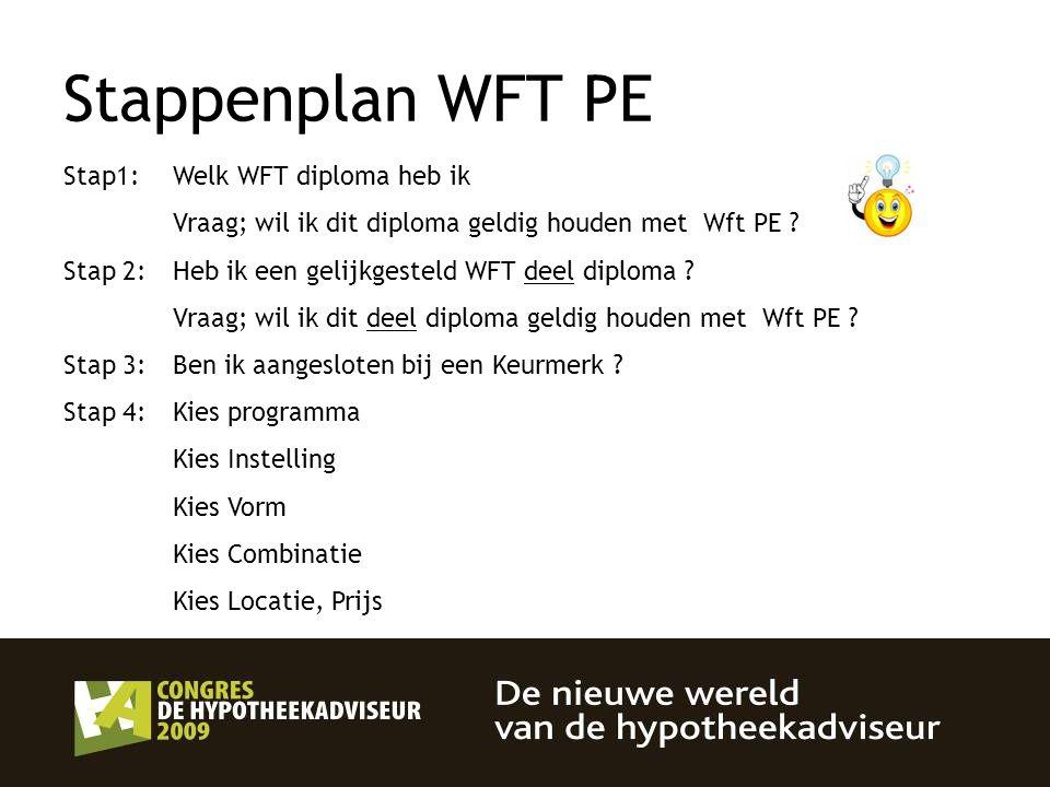 Stappenplan WFT PE Stap1: Welk WFT diploma heb ik